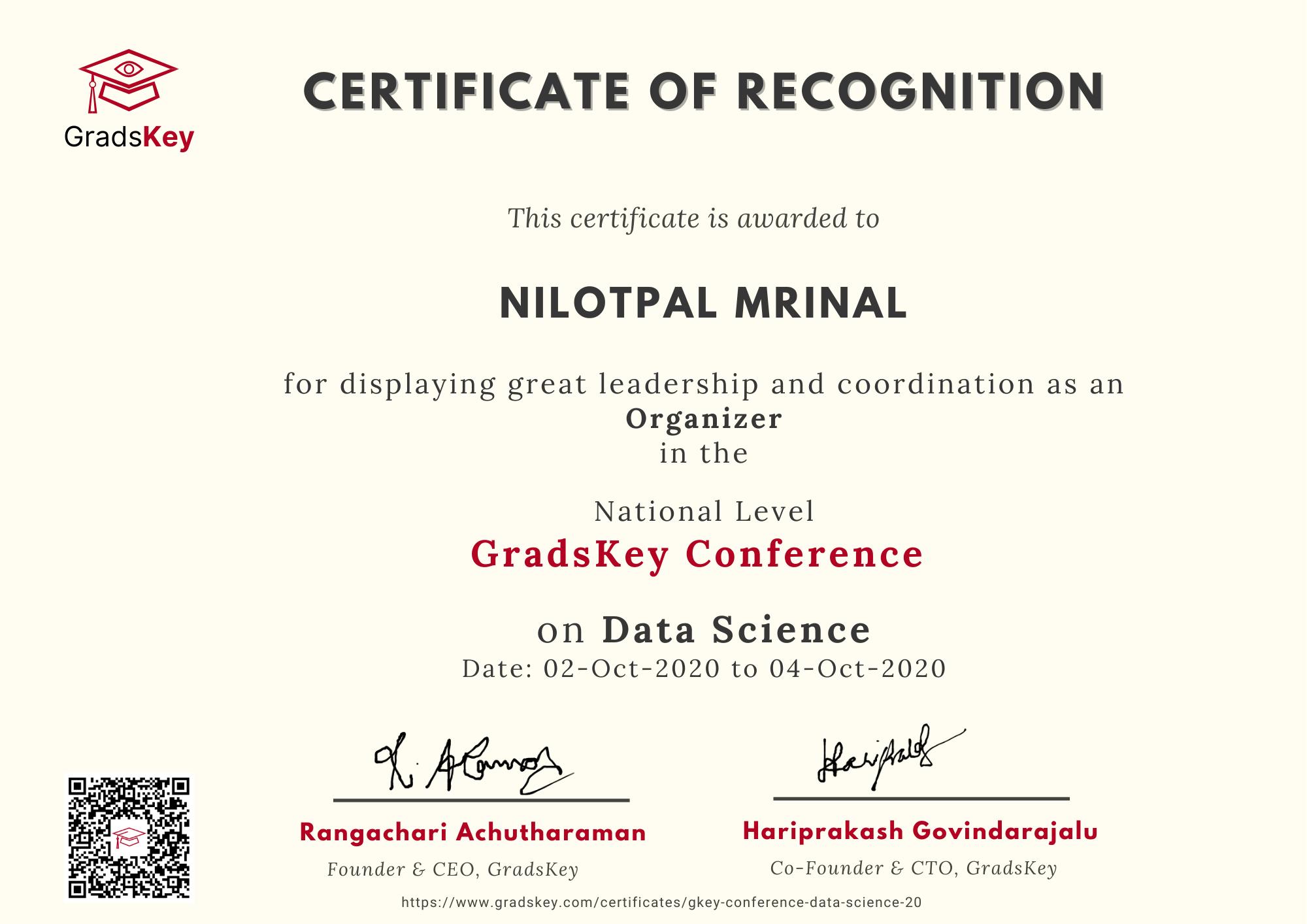 Certificate | GradsKey Data Science Conference - Organizer