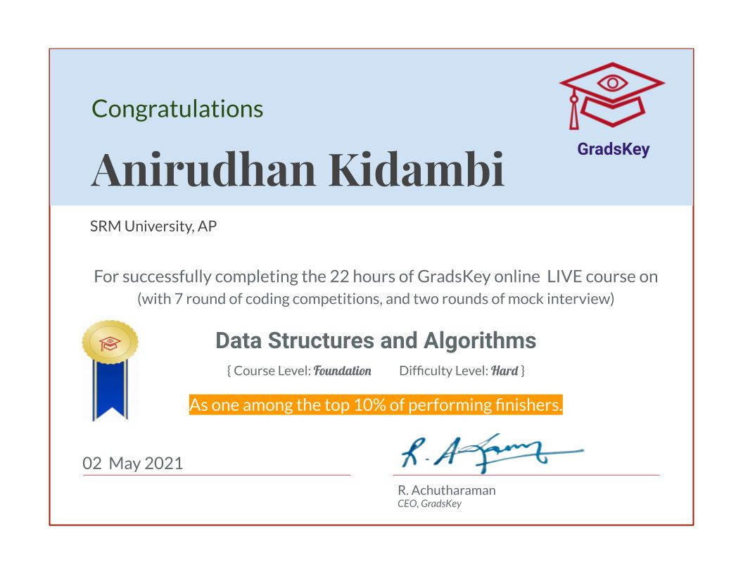 Certificate   DS & Algorithms - Live Course