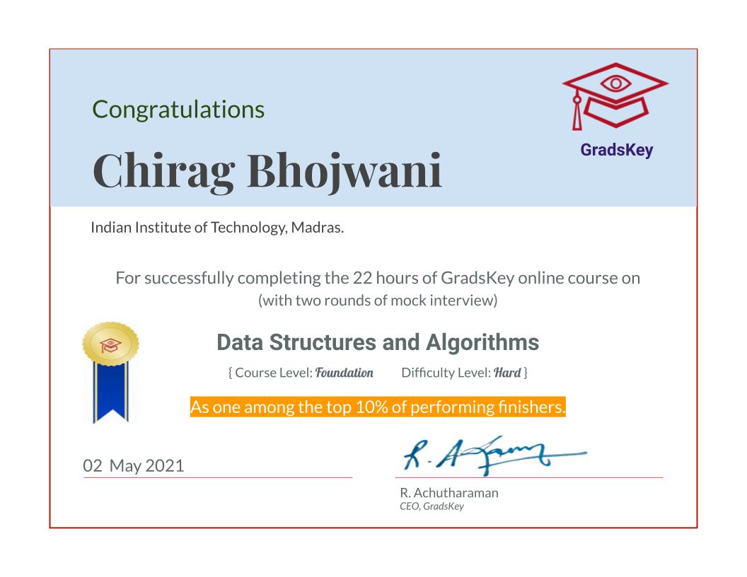 Certificate | DS & Algorithms - Live Course